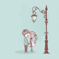 cute couple illustrator vector