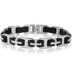 Men's 8 1/2inch Stainless Steel and Black Rubber Chain Link Bracelet