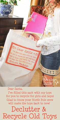 Great way to declutter and recycle old toys BEFORE Christmas! Also, a great idea for kids to give to those in need. Design Dazzle #christmas #christmasservice