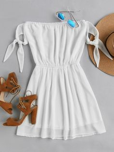 Shop Bardot Self Tie Sleeve Elastic Waist Dress online. SHEIN offers Bardot Self Tie Sleeve Elastic Waist Dress & more to fit your fashionable needs. Teen Fashion Outfits, Trendy Outfits, Summer Outfits, Fashion Dresses, Cute Outfits, Summer Dresses, Ootd Fashion, Fashion Sale, Fashion Black