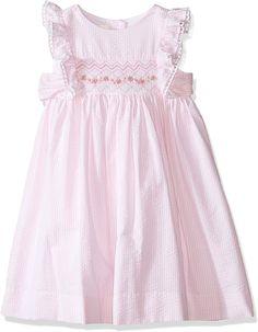 Laura Ashley London Girls' Little Pink Seersucker Smocked Dress, 4 Girls Smocked Dresses, Little Girl Dresses, Cotton Dresses, Moda Kids, London Girls, Seersucker Dress, Frocks For Girls, Laura Ashley, Little Girl Fashion