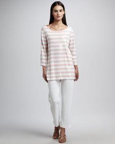 NWOT $178 Joan Vass Lined White Linen Blend Slim Leg Pants Sz 6 #JoanVass #Linen