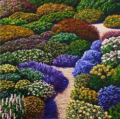 Wharite, Karl Maughan Cottage garden Beautiful Ideas Farm gardens are colo. Summer Flowers, Colorful Flowers, Cottage Garden Plants, Cottage Gardens, Shade Shrubs, Nz Art, Contemporary Artwork, Contemporary Artists, Garden Inspiration