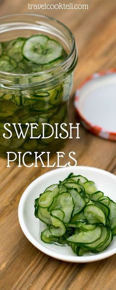 """Swedish Pickles Travel Cook Tell These taste like Korean banchan """"Oi Namul"""" without the chili. Fingers Food, Do It Yourself Food, Scandinavian Food, Swedish Recipes, Swedish Foods, Fermented Foods, Canning Recipes, Canning Tips, Preserves"""