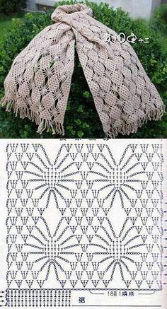 Crochet lace scarf with chartre pin Häkelmuster Openwork - crochet patterns stitchesCrochet Tutorial for Crochet, Knitting.I keep seeing inspiring crochet spiderweb stitch patterns! (series of scarf patterns)Beautiful crocheted scarf chart, and one Crochet Scarf Diagram, Crochet Stitches Patterns, Crochet Poncho, Crochet Chart, Love Crochet, Filet Crochet, Crochet Scarves, Crochet Motif, Crochet Designs