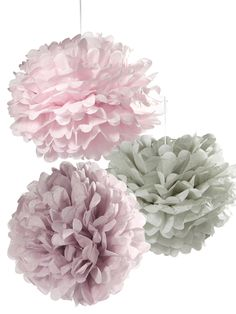 Pastel Lilac, Pink and Grey Pom Poms