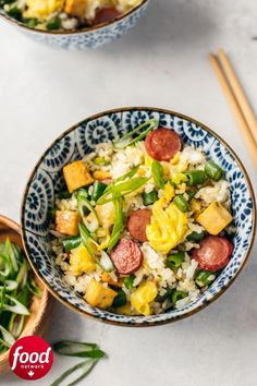 This hot dog fried rice recipe includes eggs, green beans and tofu. Slow Cooker Recipes, Cooking Recipes, Cooking With Kids, Rice Recipes, Fried Rice, Easy Dinner Recipes, Food Network Recipes, Tofu, Hot Dogs
