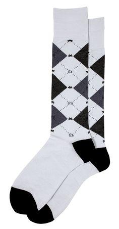 Space Invaders Retro Video Game Themed Grey Men's Argyle Dress Socks