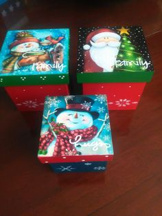 Christmas Themes, Holiday Crafts, Christmas Crafts, Christmas Ornaments, Christmas Decoupage, Decoupage Box, Wooden Boxes, Wood Art, Stencils