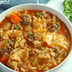 Cabbage Roll Soup recipe is a delicious dinner recipe that will warm your belly on a cold and crisp fall day. This unstuffed cabbage soup is one of the BEST soup recipes that we have ever made and very easy to make! Cabbage Soup Recipes, Best Soup Recipes, Delicious Dinner Recipes, Healthy Recipes, Dinner Healthy, Stuff Cabbage Soup, Best Cabbage Recipe, Veggie Soup Recipes, Stevia Recipes