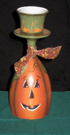 Handpainted wine glass pumpkin candle holder by KathysKountry