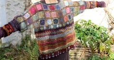 crochet, looks like noro yarn Freeform Crochet, Crochet Granny, Crochet Motif, Crochet Stitches, Crochet Hooks, Pull Crochet, Love Crochet, Knit Crochet, Knitting Yarn