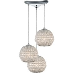 Crystal Ring 3-Light Pendant in Polished Chrome | ELK Lighting | Home Gallery Stores