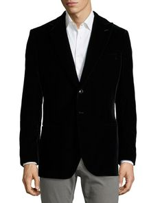 N31ED Armani Collezioni Two-Button Velvet Jacket, Black - every man needs a velvet jacket in black or navy- they are gorgeous and versatile.