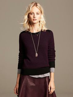 Love the outfit. Burgundy, monochromatic look from Banana Republic.