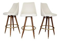 A Vintage Style Bar Stool With An Antiqued Wooden Seat And