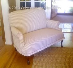 Cozy Cottage Slipcovers: Having fun with Ticking! Cozy Cottage, Cottage Style, Striped Sofa, Ticking Stripe, Hummingbird House, Custom Slipcovers, Transforming Furniture, Settee, Upholstered Furniture