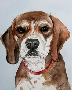 """Custom Pet Watercolor Painting/ Illustration of your Pet - Dog Portrait 8 x 10"""" - Memorial, Birthday, Anniversary, Holiday Gift - pinned by pin4etsy.com"""