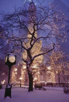 Christmas eve lighting Chicago's Historical Water Tower