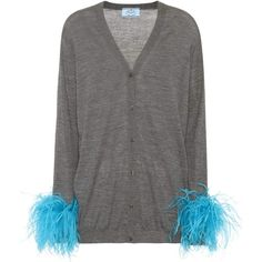 Prada Feather-Trimmed Wool Cardigan ($1,015) ❤ liked on Polyvore featuring tops, cardigans, grey, feather trim top, gray top, wool tops, prada and gray cardigan
