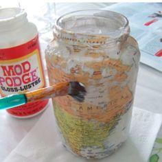 DIY: Mason Jar Map Candle Holders   Dormify