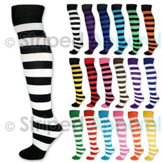 12c2f79f0 Details about 4 or 8 Pairs of Women s Striped Black White Blue Red Knee  Cotton High Socks