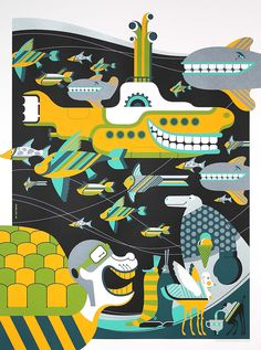 Underseas metallic print by Tom Whalen.  Part of the Official 5-print Beatles Yellow Submarine Elite '68 Edition on sale next Tues, May 29th at 9: 30 AM PST at www.DarkHallMansion.com