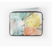 'Abstract colorful blue, turquoise yellow and red watercolor splashes with black lines hiding a bird' Laptop Sleeve by artsome-design Laptop Skin, Laptop Bag, Back To Black, Laptop Sleeves, Turquoise, Graphic Design, Watercolor, Bird, Abstract