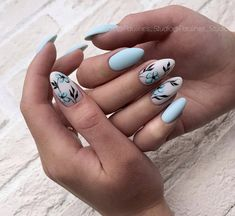 Beautiful floral nail art - summer nails makeup в 2019 г. Cute Acrylic Nails, Cute Nails, Pretty Nails, Short Nail Designs, Nail Art Designs, Nails Design, Blue Nails With Design, Light Blue Nail Designs, Nail Manicure