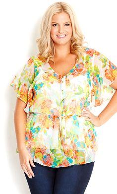 City Chic - FLORAL DREAM TOP - Women's plus size fashion #citychic #citychiconline #newarrivals #plussize #floral