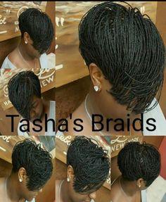 23 Gorgeous Ways to Wear Box Braids Hairstyles Tasha's Braids - short tapered cut extensions Pixie Braids, Bob Braids, Short Braids, Pixie Hair, Small Braids, Box Braids Hairstyles, African Hairstyles, Girl Hairstyles, Gorgeous Hairstyles