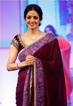 Sri Devi Stills In Colorful Maroon Saree Bollywood Designer Sarees, Bollywood Fashion, Bollywood Actress, Bollywood Celebrities, Maroon Saree, Purple Saree, Indian Designer Outfits, Indian Outfits, Indian Clothes