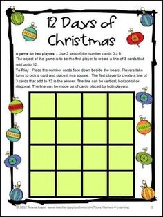 12 Days of Christmas FREEBIE - Christmas Math Games by Games 4 Learning contains 2 printable Christmas Math Board Games