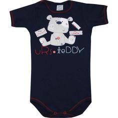 Body Bebê Menino em Algodão Marinho - Patimini :: 764 Kids | Roupa bebê e infantil