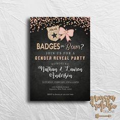 Gender Reveal Invitation - Badges or Bows - Printable Invitation - Gender Reveal Ideas   https://www.etsy.com/listing/485118260/badges-or-bows-gender-reveal-invitation