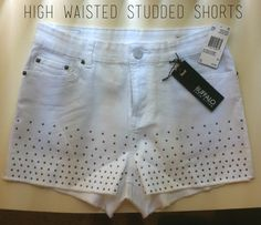 $44 High Waisted Studded Shorts on my Socialbliss Store! Sign up to create your own store today if you haven't :D -- #fashion #trends #summer #white #shorts #studs #highwaisted