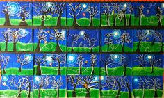 4th Grade Moonlit Nights   I originally got my idea from Natalie at Elementary Art Fun . She was inspired from Mary at  http://marymaking.bl...