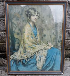 Vintage print  Alice blue gown  circa 1940's  in by empireantiques, £20.00