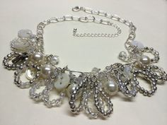 White button and Bead Necklace by BornAgainButtons on Etsy, $22.00