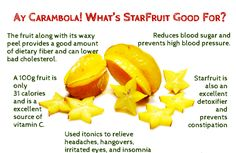 Did you know starfruit is revered as a traditional medicine in Indonesia and Malaysia? They use it in formulas and in tonics to relieve headaches hangovers irritated eyes insomnia and constipation and to reduce blood sugar and prevent high blood pressure! Raw Food Recipes, Cooking Recipes, Healthy Recipes, Starfruit Benefits, Variety Of Fruits, Food Facts, Herbal Remedies, Natural Remedies, Herbalism