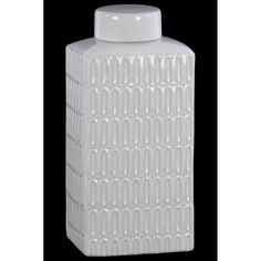 Urban Trends Collection UTC46313: Ceramic Rectangle 160 oz. Tall Jar with Lid and Embossed Oval Patterns Design Body Gloss Finish White
