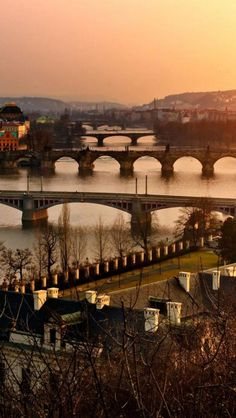 Prague, Bridge, River, Sunset, Evening, City, Landscape