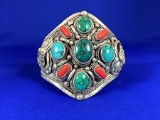 Nepalese Sterling Silver Coral Dragon Skin Turquoise Spider WEB Turquoise Cuff | eBay