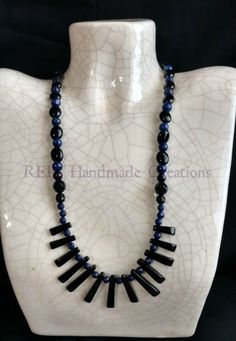 All genuine Lapis Lazuli w/ Black Onyx Fan by REILHandmadeCreation
