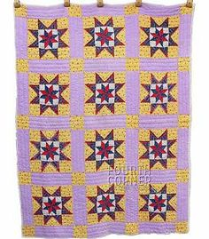 RARE 1930s Feathered Star Red Indigo Lilac Sunny Yellow Quilt 3 4 inch Tris | eBay, fourthcornerfinds