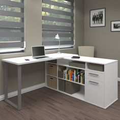 Bestar has designed a winner with this great desk! It features clean, modern design, with smart integrated storage as a part of the L-shaped desk. Bestar includes a 10 year warranty to give you assurance that this is a premium desk made of high quality m