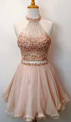 Two Piece Homecoming Dresses,Beaded Bodice Halter 2 Piece Short Prom Dresses,Sparkly Cocktail Dresses Short Prom Dress Sparkly Cocktail Dress, Sparkly Prom Dresses, Prom Dresses 2018, Prom Party Dresses, Dance Dresses, Pretty Dresses, Beautiful Dresses, Cocktail Dresses, Dress Prom