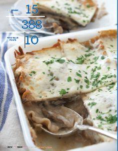 No-Boil Mushroom Lasagna from Celebrity Chef Rocco DiSpirito! Pasta Recipes, Gourmet Recipes, Dinner Recipes, Healthy Recipes, Lasagna Recipes, Tasty Meals, Healthy Treats, Healthy Foods, Dinner Ideas