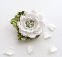 Hand Crochet Beaded Anchor Cotton Corsage Brooch - No pattern but eaily duplicated!