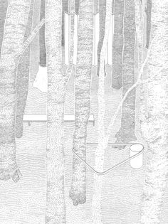 Atelier with a View Collage Architecture, Landscape Architecture Drawing, Architecture Graphics, Urban Architecture, Tree Line Drawing, Forest Drawing, Forest Illustration, Plant Illustration, Réinventer Paris
